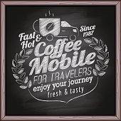 Coffee, cafe & bakery poster on chalkboard