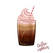 istock Coffee mocha vector illustration. A glass cup of frappe with whipped cream, caramel, tube, signs, recipe, chocolate. Coffee drink in the mug for posters, menu, print, menu board, flyer, advertisement 1268896662