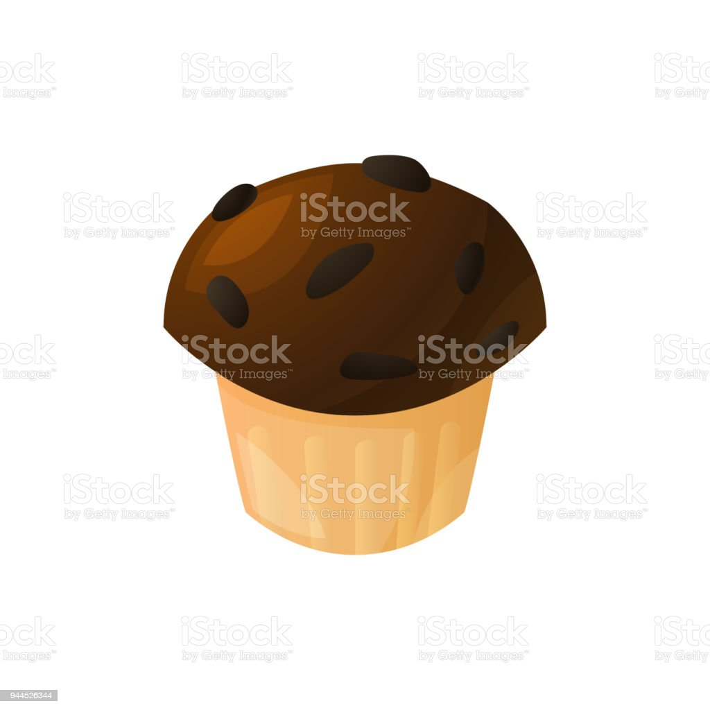 Coffee muffin with chunks of chocolate, homemade cakes, bakery products from the bakery. Icon of muffin isolated on white background. Vector illustration. vector art illustration