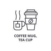 coffee mug, tea cup line icon, outline sign, linear symbol, flat vector illustration