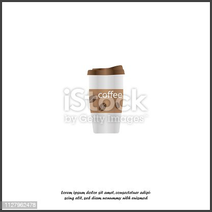 Coffee mug vector icon. The symbol of coffee break. Rest in a cafe. Illustration of coffee with you. Gift card store. Layers grouped for easy editing illustration. For your design
