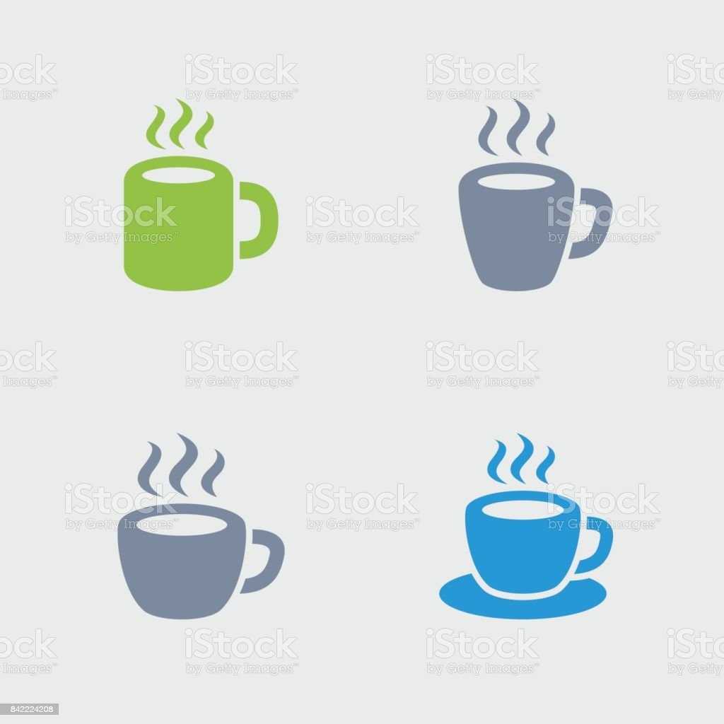 Coffee Mugs & Cups - Granite Icons vector art illustration