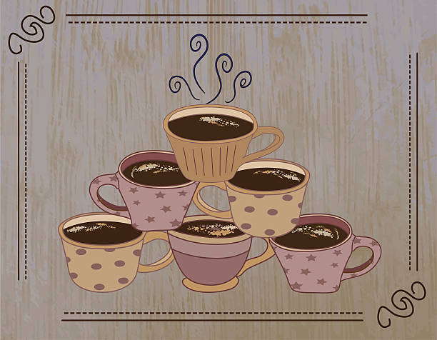 coffee mugs stacked in pyramid with hot beverage on grunge - stacked tea cups stock illustrations, clip art, cartoons, & icons