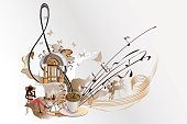 Coffee music. Abstract treble clef decorated with notes, sweets and cafe.Hand drawn illustration.