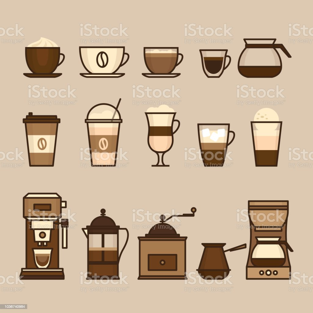 Coffee objects and equipment. Cup and coffee brewing methods. Coffee makers and coffee machines, kettle, french press, moka pot, cezve. Flat style, vector illustration. - Royalty-free Acessório arte vetorial