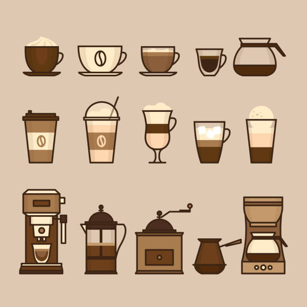 ilustrações de stock, clip art, desenhos animados e ícones de coffee objects and equipment. cup and coffee brewing methods. coffee makers and coffee machines, kettle, french press, moka pot, cezve. flat style, vector illustration. - café solúvel