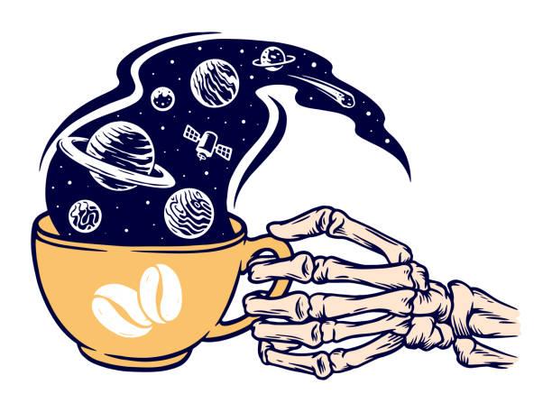 bildbanksillustrationer, clip art samt tecknat material och ikoner med kaffe av universum vektor illustration - coffe with death
