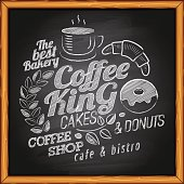 Coffee, cafe & bakery poster on chalkboard