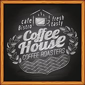 Coffee house, cafe & bakery poster on chalkboard