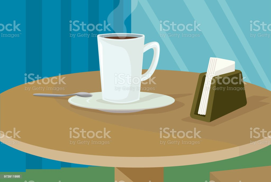 Coffee on my table vector art illustration