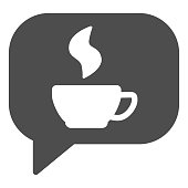 Coffee or tea chat solid icon. Dialogue bubble and hot drink mug symbol, glyph style pictogram on white background. Caffeine or cafe sign for mobile concept and web design. Vector graphics