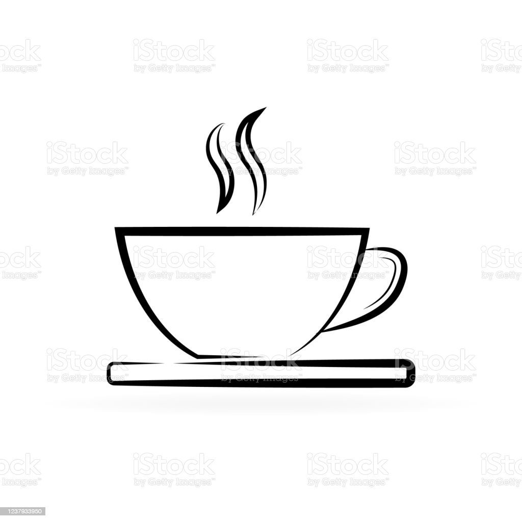 Coffee Or Tea Cup Icon Isolated On White Line Template Sketch Hot Drink Sign Beverage Symbol Outline Design Elements Vector Stock Illustration Stock Illustration Download Image Now Istock