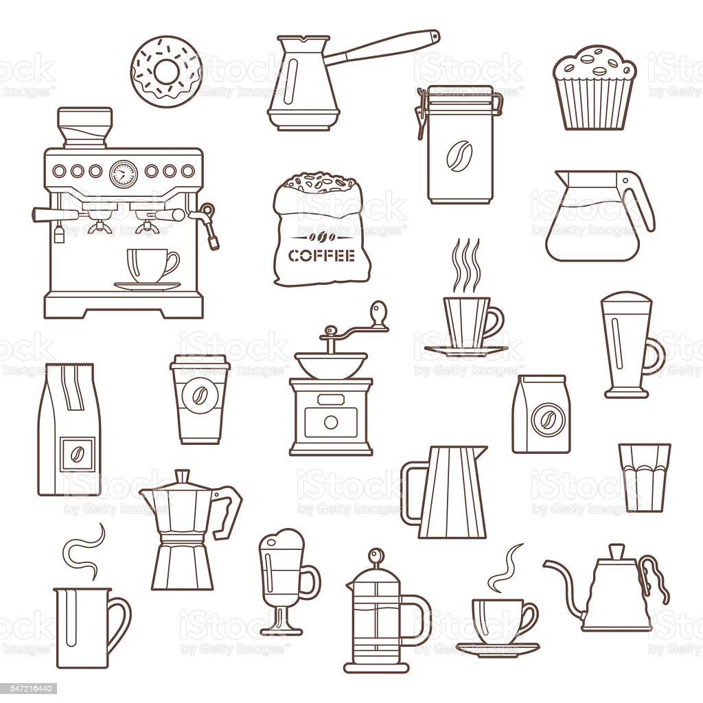 Coffee outline icon set vector art illustration