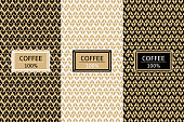 Coffee Package set template vector. Luxury collection of seamless patterns for royal label design. Tag for drink products, cocoa bean sweets, wrapping paper and coffee shop.