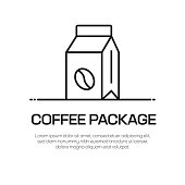 Coffee Package Vector Line Icon - Simple Thin Line Icon, Premium Quality Design Element