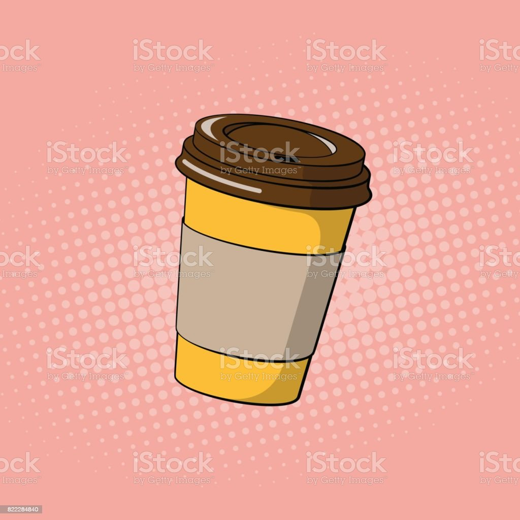 Coffee paper cup. Fast food pop art style. Vector vector art illustration