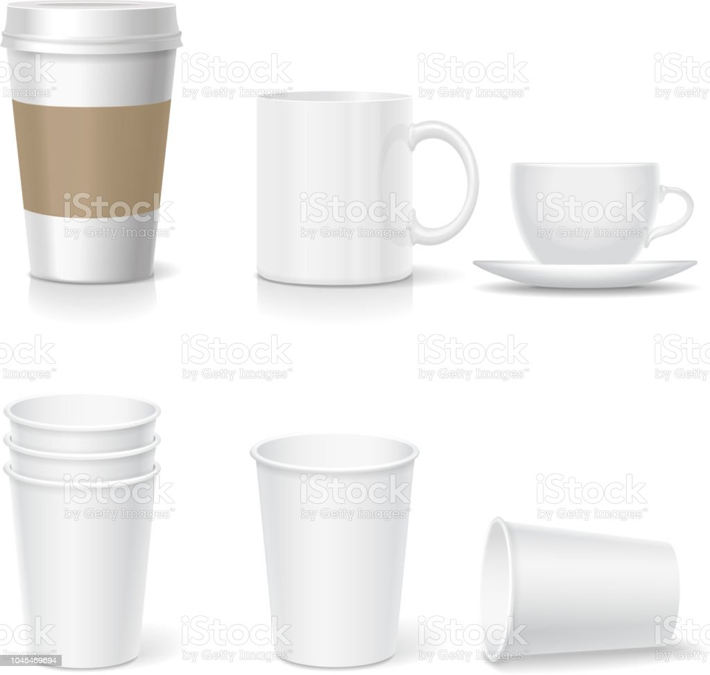 Coffee Paper Cup Template And Mug Set Realistic Collection Royalty Free