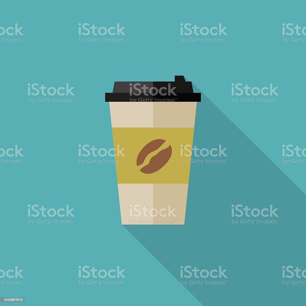 Coffee paper cup vector art illustration