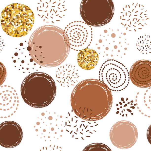 kaffee-muster abstrakte nahtlose vektor braun muster mit handgezeichneten runden elementen - schokolade stock-grafiken, -clipart, -cartoons und -symbole
