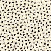 Seamless coffee pattern with grains on a light background