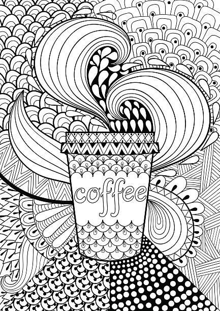 Coffee patterned background for adult coloring book. Coffee patterned background for adult coloring book. Hand drawn vector illustration with cup in ethnic,  tribal style. Doodle design. A4 size. Black and white abstract card. só adultos stock illustrations