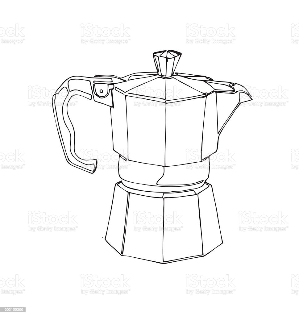 Coffee Percolator Clip Art Hand Drawn Vector Element Royalty Free
