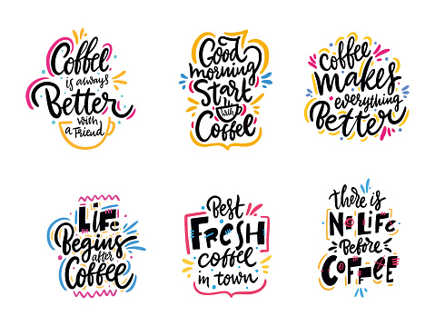 Coffee phrases set. Typography hand drawn vector lettering.