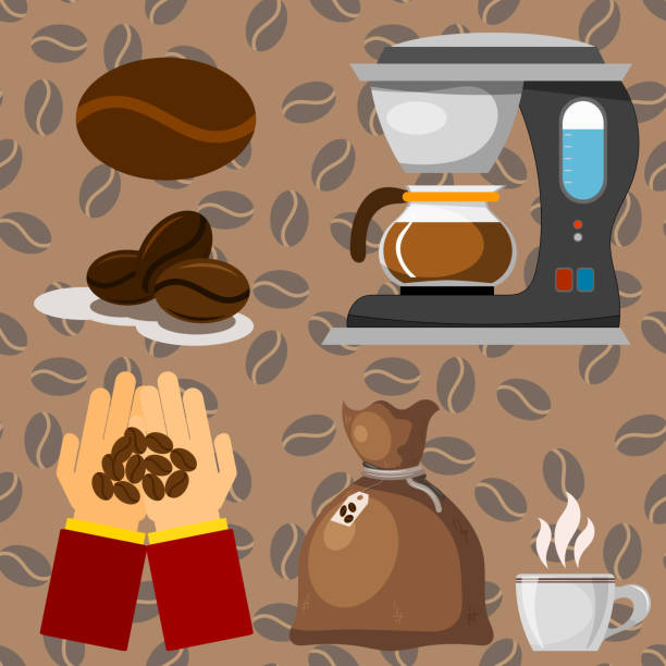 illustrazioni stock, clip art, cartoni animati e icone di tendenza di coffee plantation beans drink cafe coffee-bean cocoa farmer plantation coffeemaker vector illustration - coffee farmer