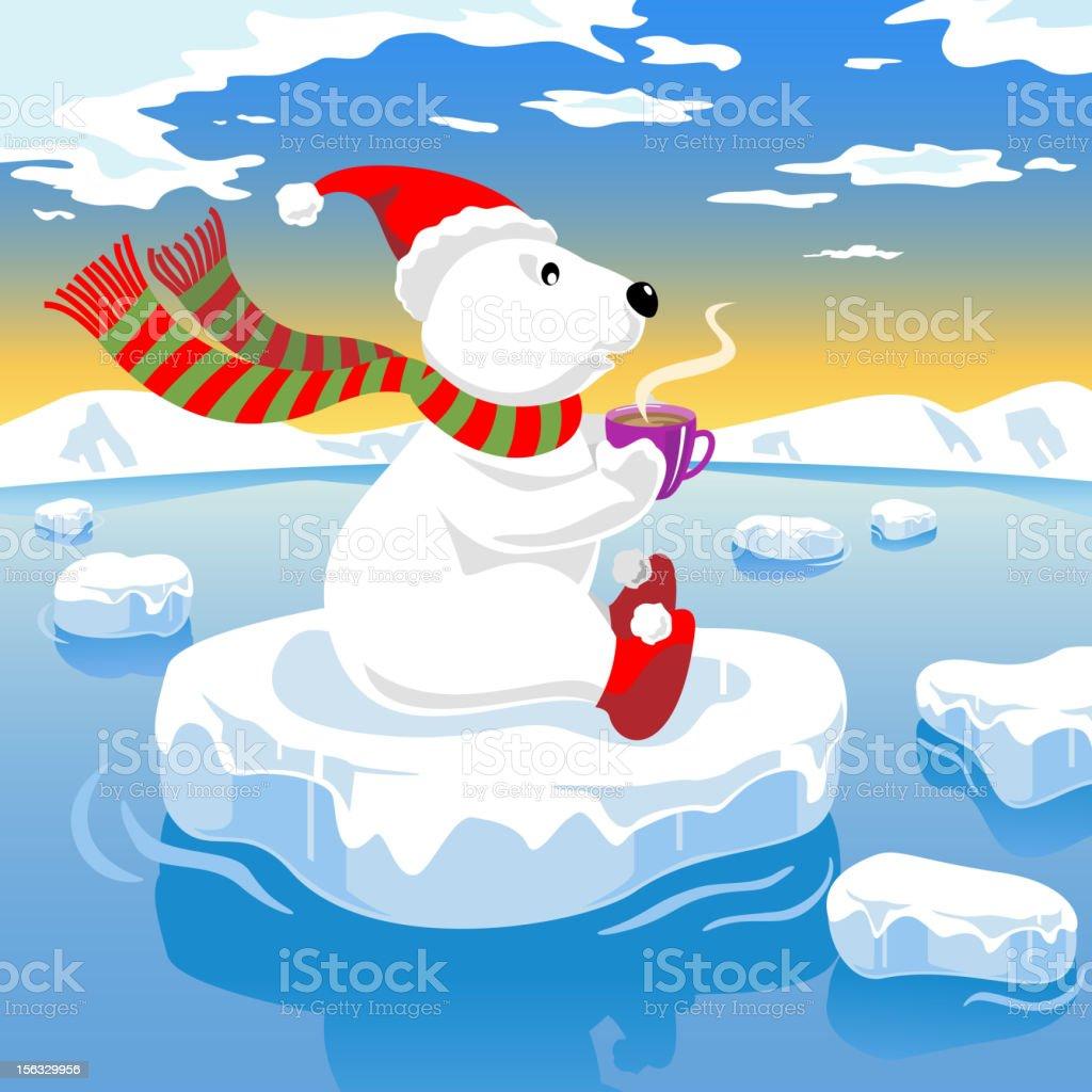 Coffee Polar Bear On Ice vector art illustration