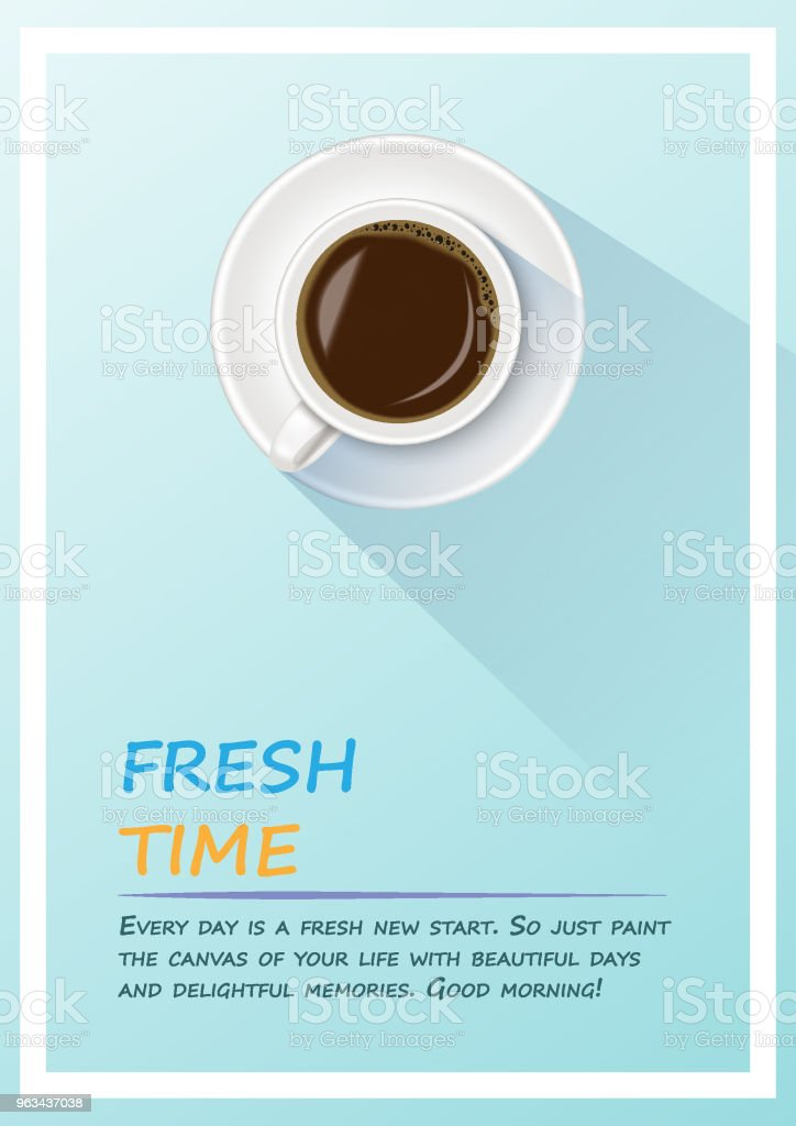 Coffee Poster. A realistic of cup of black coffee in coffee cup minimalist with sample text. Fresh time,Coffee time in morning concept. - Grafika wektorowa royalty-free (Bez ludzi)