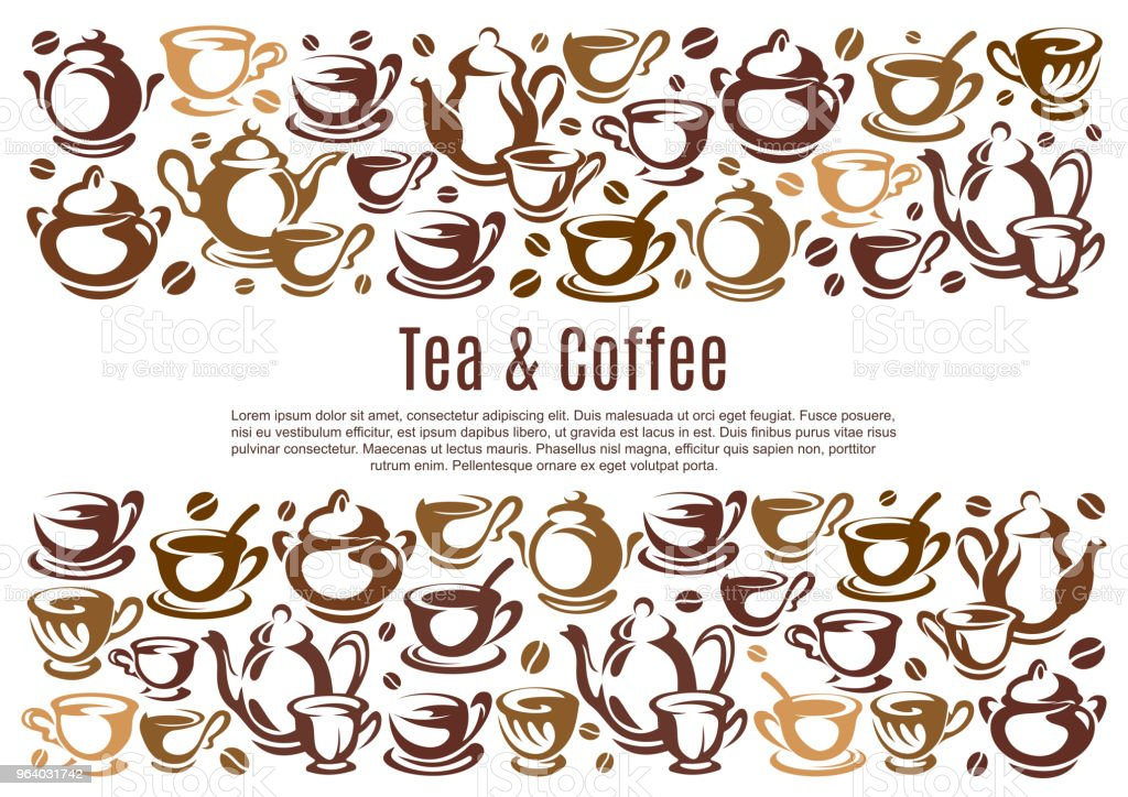Coffee poster with cups and kettles - Royalty-free Archival stock vector