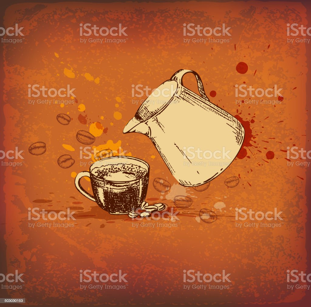 Coffee pot and cup royalty-free stock vector art