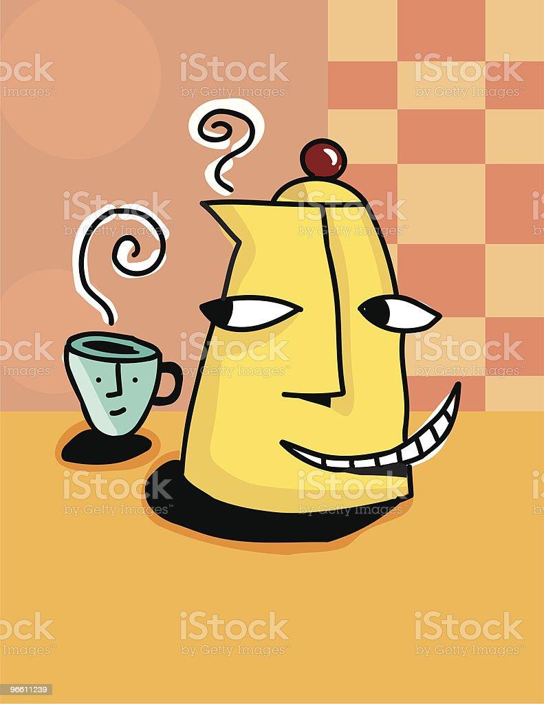 Coffee pot and mug - Royaltyfri Antropomorfistiskt ansikte vektorgrafik