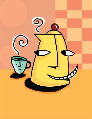Кофейник И Кружка — стоковая векторная графика и другие изображения на тему Без людей