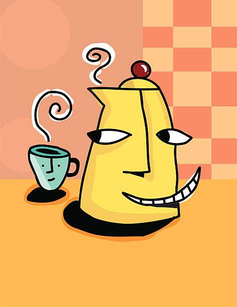 Coffee pot and mug vektorkonstillustration