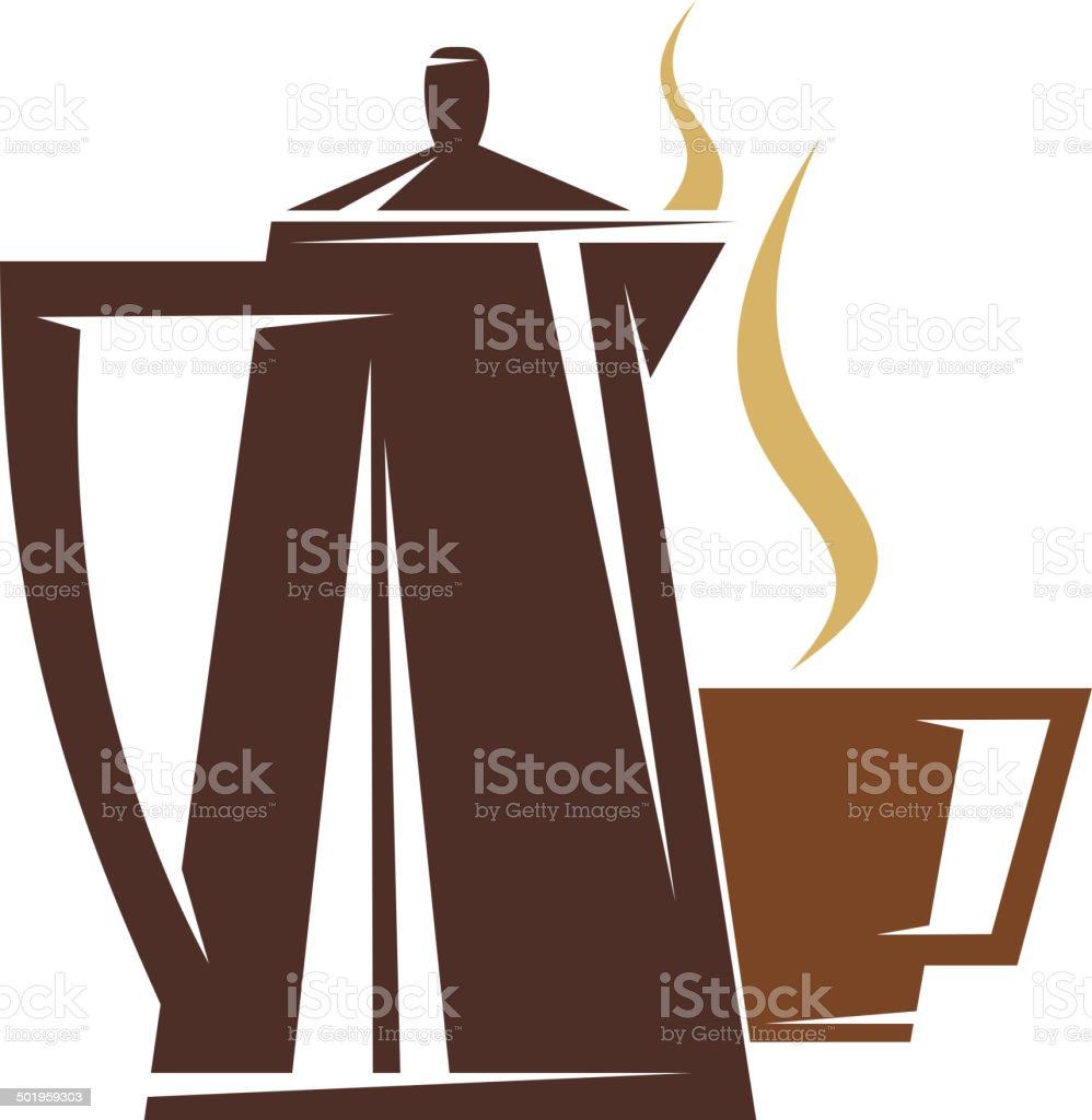 Coffee pot and steaming cup of coffee royalty-free stock vector art