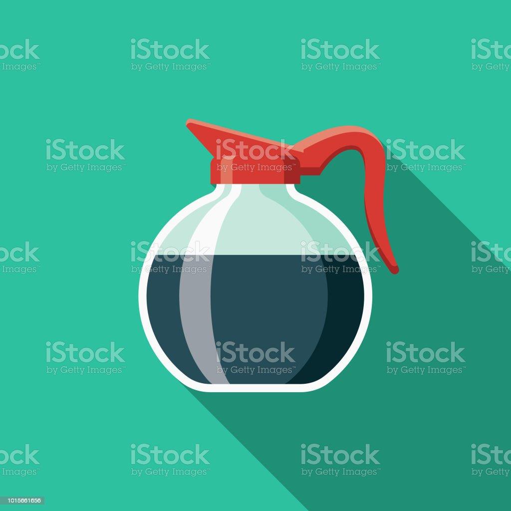 Coffee Pot Flat Design Breakfast Icon vector art illustration