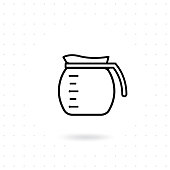 Coffee pot icon. Coffee jug outline icon. Glass coffee pot vector illustration. Coffee maker icon on white background. Alternative coffee brewing