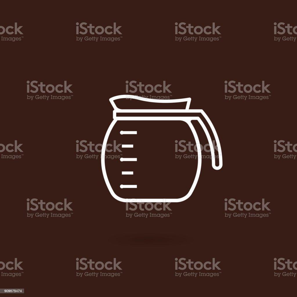Icono del pote del café con fondo marrón - ilustración de arte vectorial