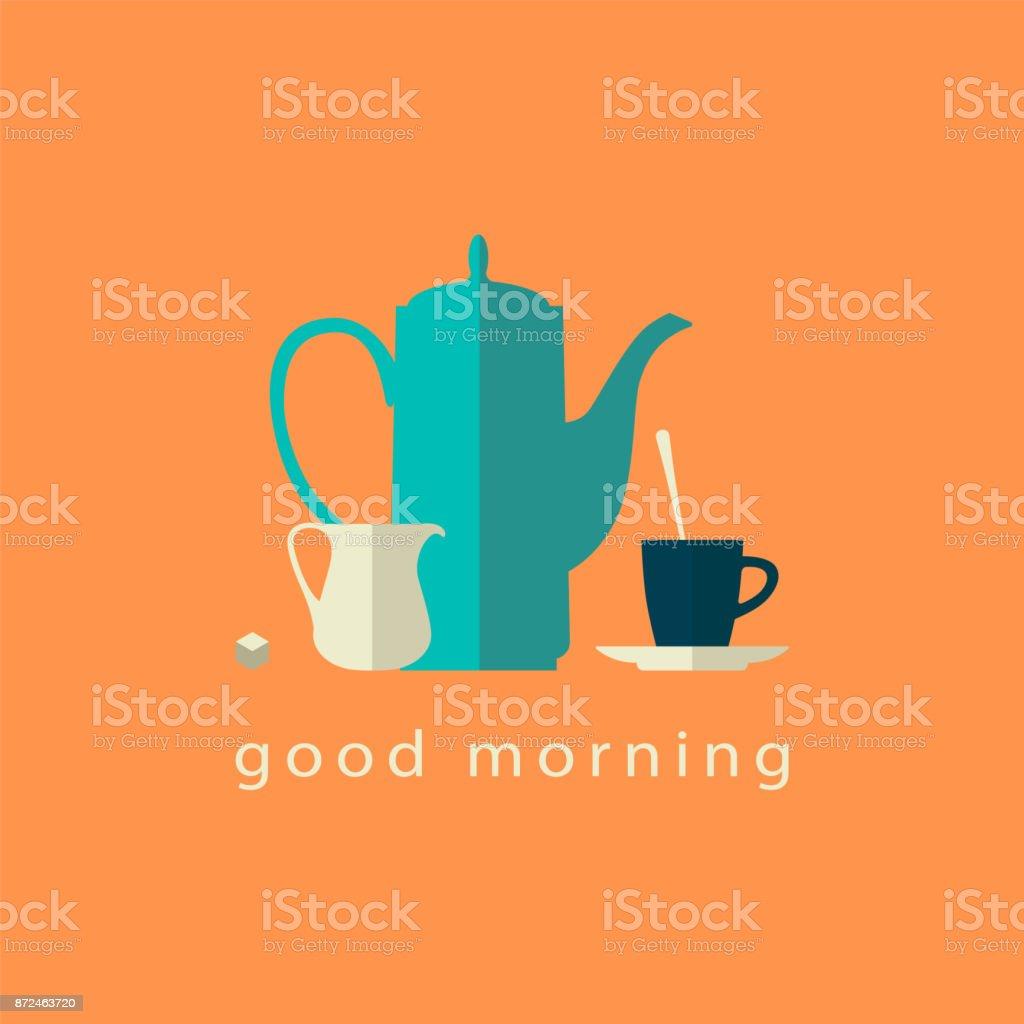 Potenciômetro do café, jarra e copo. Ícones plana simples. Ilustração em vetor. - ilustração de arte em vetor