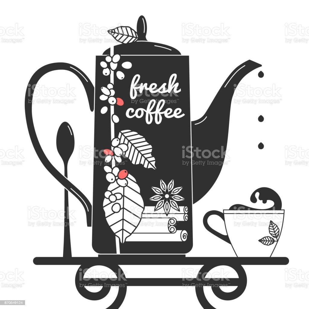 Vetores De Bule De Cafe Com Canela Anis E Um Ramo De Uma Arvore De