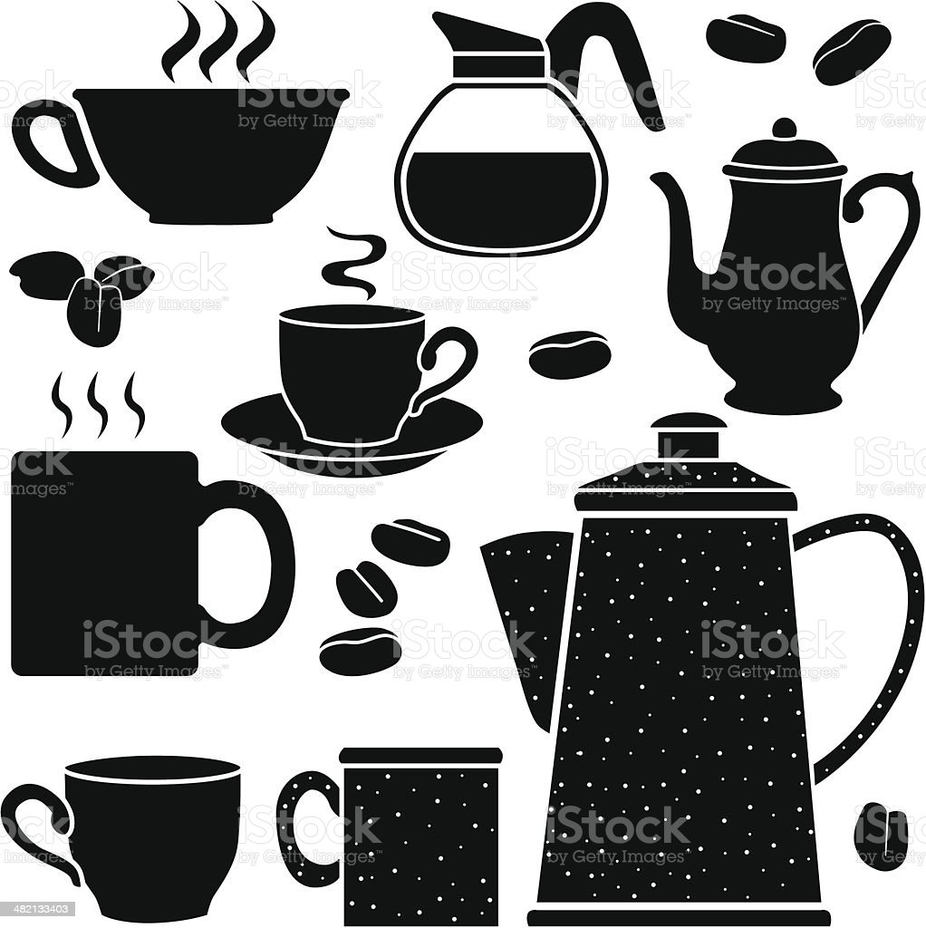Coffee Pots And Cups Stock Vector Art & More Images of ...