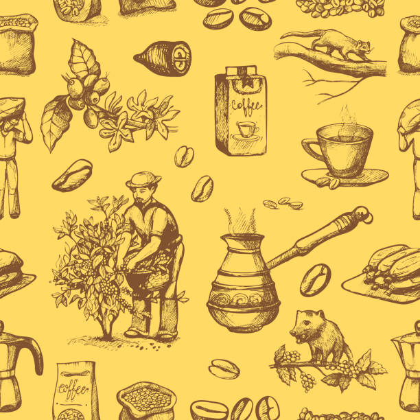 illustrazioni stock, clip art, cartoni animati e icone di tendenza di coffee production vector plantation farmer picking coffeine beans on tree and vintage drawing drink retro cafe collection sketch coffeebean dessert seamless pattern background - coffee farmer