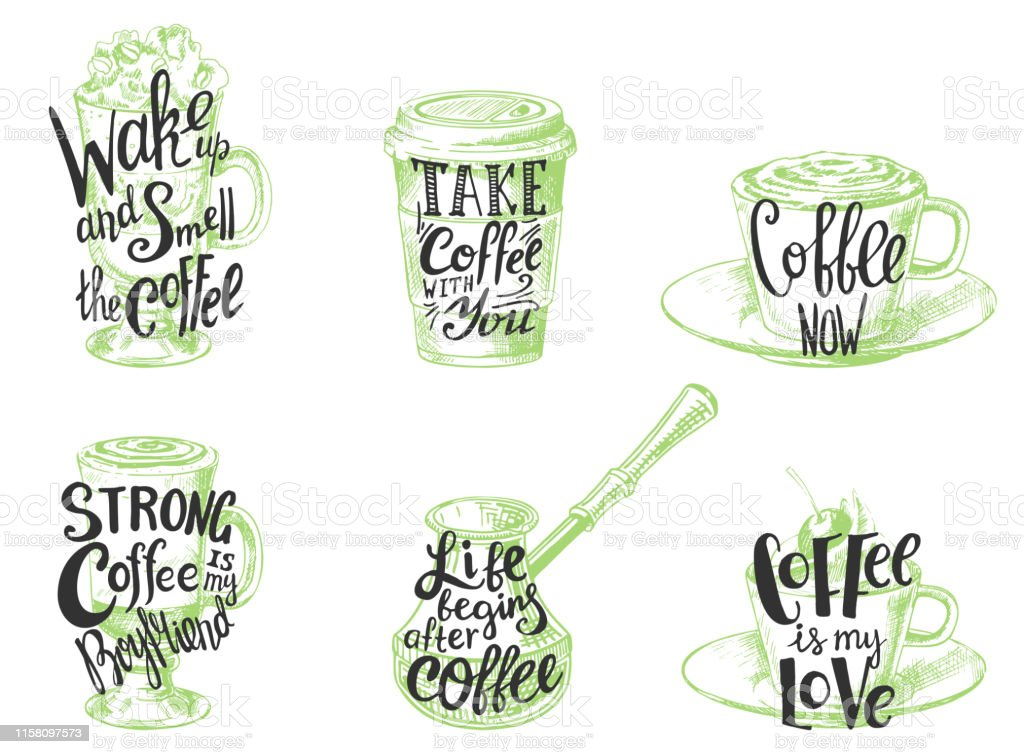 coffee quotes hand drawn lettering vector illustration stock