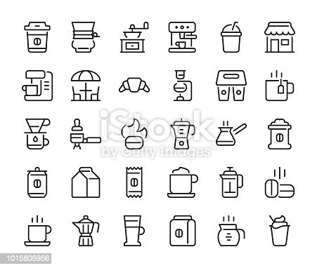 Coffee - Regular Line Icons - Vector EPS 10 File, Pixel Perfect 30 Icons.