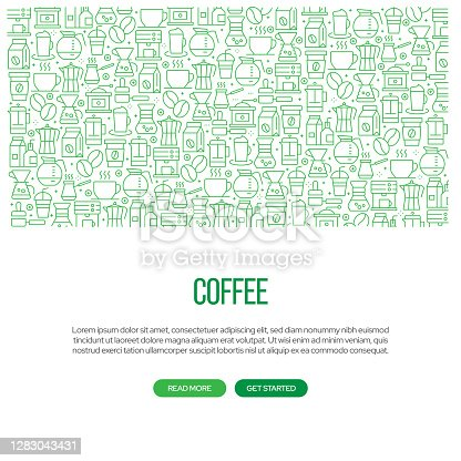 istock Coffee Related Banner Design with Pattern. Modern Line Style Icons Vector Illustration 1283043431