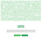 Coffee Related Banner Design with Pattern. Modern Line Style Icons Vector Illustration