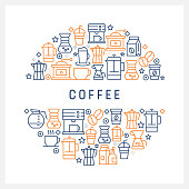 istock Coffee Related Concept - Colorful Line Icons, Arranged in Circle 1129809866