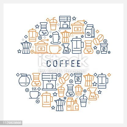 Coffee Related Concept - Colorful Line Icons, Arranged in Circle
