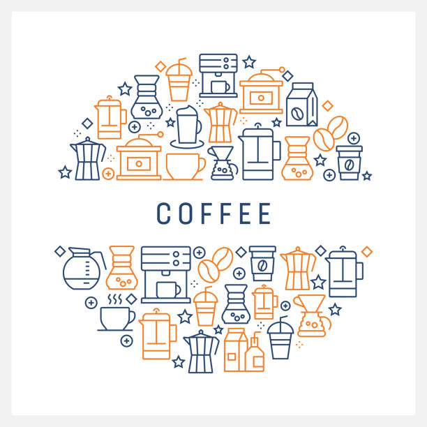 coffee related concept - colorful line icons, arranged in circle - coffee stock illustrations, clip art, cartoons, & icons